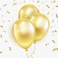 balões dourados e confetes vetor