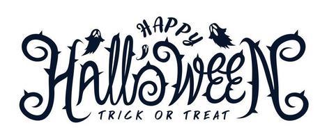 texto feliz festa de halloween com fantasma vetor