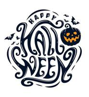 feliz texto curvilíneo de halloween com morcegos e abóbora