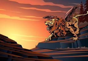 Leão voado gritando vetor
