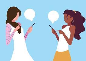 mulheres jovens usando dispositivos smartphones vetor