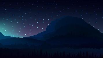 noite clara paisagem escura com montanhas no horizonte vetor