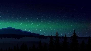 paisagem escura à noite com montanhas no horizonte vetor