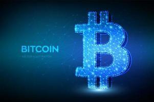 Linha de malha de bitcoin poligonal 3D e conceito de símbolo de ponto vetor