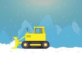 Arado De Neve Em Ação Com Montanha vetor