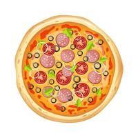 pizza deliciosa isolada vetor