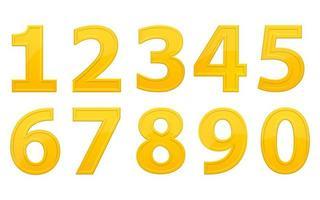 números dourados isolados vetor