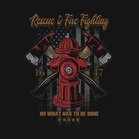 resgate e combate a incêndio com inscrições vetor