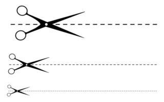 tesoura corte linha vetor