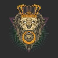 cabeça de leão com coroa vetor