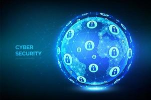 conceito de globo de tecnologia de segurança cibernética