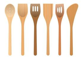 utensílios de cozinha em madeira vetor
