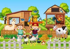 fazenda na cena da natureza com fazenda de animais vetor