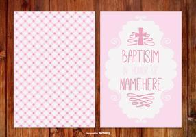Cartão de ginham baptisim para menina vetor