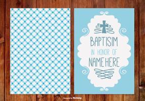 Cartão de baptismo de gingham para menino vetor