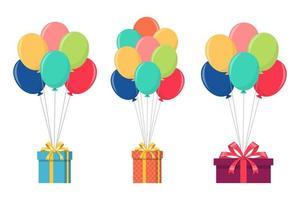 balão com caixa de presente vetor