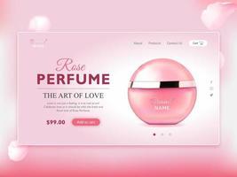 página de destino do frasco de perfume elegante vetor