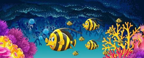 peixes nadando sob o oceano vetor