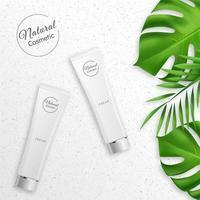 produto cosmético com folhas verdes.