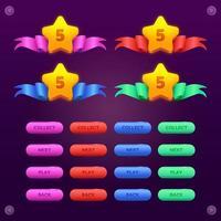 conjunto de alavanca estrela para cima e botão vetor