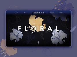 página de destino floral de luxo vetor