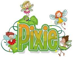 logotipo da pixie com pequenas fadas vetor