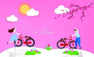 casal adorável com bicicletas ao ar livre vetor