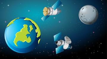satélites ao redor da cena terrestre vetor