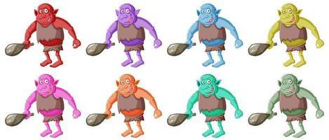 conjunto de goblins coloridos vetor