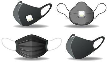conjunto de máscara de proteção preta vetor