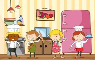 assar e cozinhar grupo vetor
