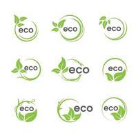 coleção de ícone de folha verde circular eco vetor