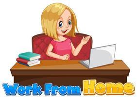 mulher trabalhando no computador vetor