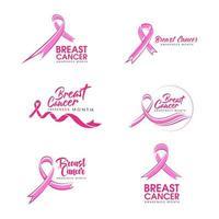 conjunto de ícones de fita rosa de câncer de mama vetor