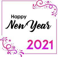 feliz ano novo 2021 saudação com estilo flor vetor