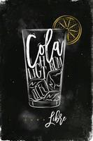 cartaz cuba libre coquetel de giz colorido vetor