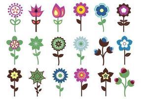 Pacote retro do vetor da flor