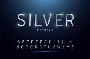 Conjunto de alfabeto prata metálico estreito vetor