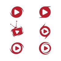 conjunto de botões de reprodução do logotipo do ícone do filme vetor