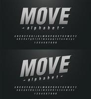 alfabeto esportivo moderno e elegante e fontes numéricas vetor