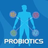fundo de informações de probióticos vetor