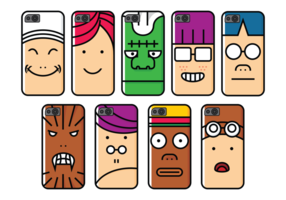 Caso de telefone Personagem de desenho animado vetor