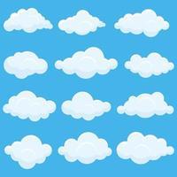 conjunto de nuvens brancas vetor
