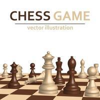 Tabuleiro de jogo de xadrez 3D e peças em branco vetor