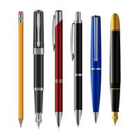 conjunto de canetas isolado vetor