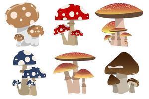 cogumelos isolados no branco vetor