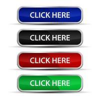 clique aqui botões da web com moldura metálica vetor