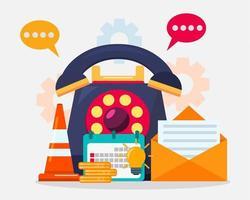 suporte ao cliente e ícones de negócios vetor