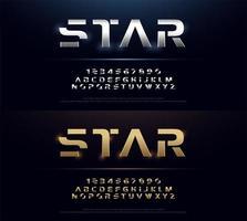 Conjunto de fontes do alfabeto futurista de metal prata e ouro