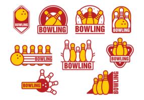 Distintivos do bowling Alley vetor
